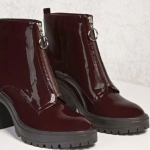 NWT Burgundy Patent leather ankle boots